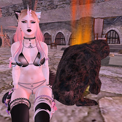 That time I found a burning man... (Alice Wylde) Tags: chain gang second life pony strait jacket crazy burning man neko laptop unicorn kitten pool cat landscape funny silly woman spanked domination submission swimming