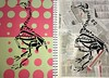 Bird Skeleton Prints (Leah Anderson-New) Tags: pink bird newspapers spots
