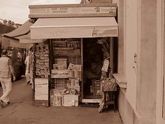 Cornershop in Firenze, Italy (RoccerSoccerDave) Tags: italy firenze street sepia canon powershot sx220hs