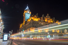 Under blackened spires at the dead of night (OR_U) Tags: 2016 oru uk scotland edinburgh thebalmoral princesstreet le longexposure night nightphotography nightlights bus buses lighttrails street building architecture traffic movement