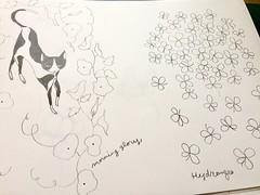 Sketch of cat, morning glory, hydrangea (mhasegawa165) Tags: morningglory drawing illustration botanical hydrangea flowers cat