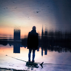 Grounded. (cara zimmerman) Tags: self selfie selfportrait doubleexposure indianapolis sunrise reflection silhouette city skyline whiteriver morning eaglecreekpark