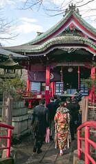Adult prayer (sapphire_rouge) Tags: kimono 振袖 着物 晴着 girl lady 吉祥寺 東京 公園 tokyo park 井の頭公園 kichijyoji inokashirapark shrine