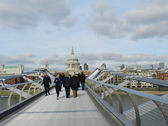 Towards St Paul's Cathedral from the Millennium Bridge, London, Feb 2016 (allanmaciver) Tags: st pauls cathedral england london city capital style architecture millennium bridge people walk run jog exercise clouds february dome christopher wren allanmaciver
