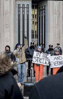 Abe Velazquez Leads a Chant During an Anti-Tear-Gas Demonstration Outside the U.S. Department of Justice