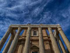 Once upon the time (lamnn92) Tags: rome temple antoninuspius faustina ruin palatinehill building structure architecture clouds blue sky drama roman history hdr panasonic fz1000