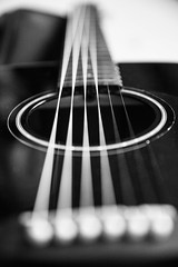 Day 16 - Music (ClaireShepley) Tags: photoaday photooftheday 365 canon canon5dguitarmusicblack whiteclose up strings