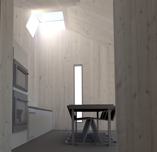 Drawing of the kitchen and dining room of the house from Washington State for Solar Decathlon 2017.