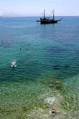 Kick (Shahireh) Tags: blue sea seaside ship mediterraneansea       shahireh