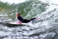 Surfer Girl. (joseph_donnelly) Tags: girl sport munich münchen bayern bavaria movement surf surfer wave surfing englischergarten eisbach