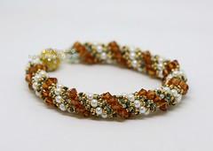 Double Spiral Bracelet (BeeJang - Piratchada) Tags: beadweaving beading beadwork double spiral bracelet jewelry gold copper pearl swarovski crystal miyuki handmade