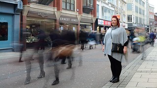 A lady motionless in Leeds.