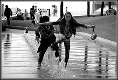 Fountain fun (* RICHARD M (Over 6 million views)) Tags: street candid action fun happy happiness teenagers teens adolescence mono liverpool merseyside thomassteersway liverpoolone frolics funandgames wet water fountain fountains reflections dancing kneesup thedecisivemoment blackwhite girlsjustwannahavefun dancers europeancapitalofculture capitalofculture maritimemercantilecity fountainfrolics fountainfun