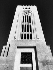 Black and white clock tower ,, school of law ,, Kuwait City iPhone 6 Plus my second camera (abdullahh96596) Tags: law iphone6 towers 2017 clouds blackandwhite bw kuwait university clocktower