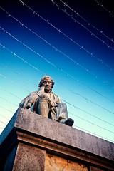 Dr Samuel Johnson (khrawlings) Tags: samueljohnson doctor dr plinth statue lichfield lights lines blue sky winter staffordshire decoration