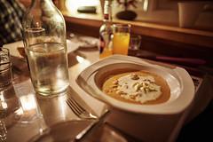 Cream of Crab Soup (bacon.dumpling) Tags: appetizer bottle bottleofwater dish food indoor nikond750 nopeople nobody sigma24mmf14dghsmart grindavík iceland