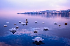 Lakescape (eleonoralbasi) Tags: montreux switzerland swiss lake lakescape landscape view beautiful romance water blue pink sunset travel stars reflections winter canon6d
