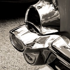 Curvature... (Stu Bo) Tags: certifiedcarcrazy classiccar coolcar canon curves chevypower chromeisking vintagecar vintageautomobile beautiful monotone rebel reflections rearend sexonwheels oldschool onewickedride oneofakind americanmade black white