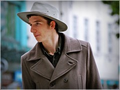 Man in a Hat (1980blue Street) Tags: cardiff candid street queenstreet colour autumn cool cloudy man guy bloke fella hat