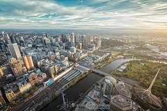Sunrise of Melbourne (explored 6th Feb 2017) (Qicong Lin(Kenta)) Tags: melbourne australia landscape sunrise twilight cityscape city yarrariver river architecture building artscentre melbournecbd cbd downtown wideangle urbanlandscape d5 color colour coloris victoria view birdview nikon