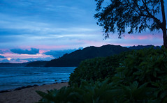 Sunrise Over Hanalei (Coast to Coast and In Between) Tags: hawaii sunrise hanalei kauai hanaleicolonyresort beach ocean sand surf hawaiiansunrise pink bluesky beauty naturalbeauty vacation water sonyalphadslr sony