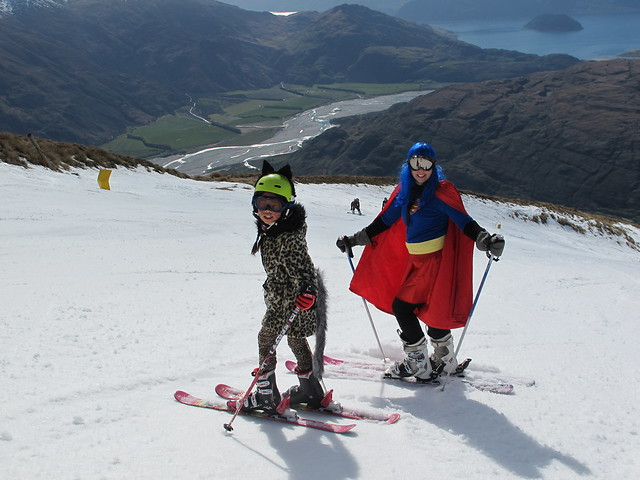 Mother Lynley Ashe & daughter Lily Ashe from Wanaka at Treble Cone Closing Day (28.9.2014)
