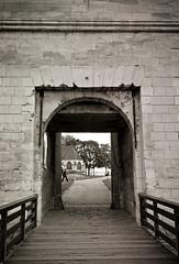 Château de Caen Entrance (The Nexus) Tags: travel vacation bw france film spring kodak trix caen 2012 leicam7 xtol11 leicasummilux50mmf14iii