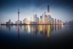 The Untouchables (Eddie HBH) Tags: china longexposure reflection building sunrise river cityscape shanghai pride pudong dramaticsky finance insolence