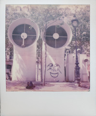 Pipes (gambajo) Tags: paris france color smile face polaroid sx70 big centre pipes instant pompidou centrepompidou