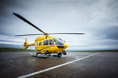New Scottish Ambulance Service helicopter (Premysl Fojtu) Tags: new longexposure rescue yellow island scotland airport orkney outdoor aircraft aviation north july medical helicopter kirkwall mainland eurocopter 2015 ndfilter 1000x scottishambulanceservice ec145t2 airbushelicopters gsasn