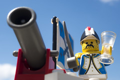 FIRE, and bring me some more port (tomtommilton) Tags: macro toy soldier toys photo lego drink flag pirates photograph pirate legos cannon sword imperial soldiers minifig minifigs admiral supermacro minifigure minifigures