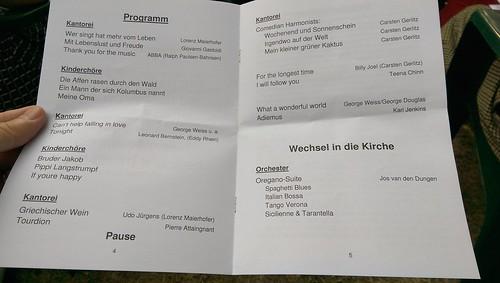 Programm des Sommerkonzerts der Kantorei Selzen