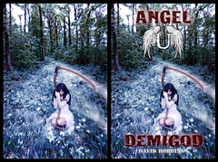 The Photograph and the Book Cover (englishreader) Tags: flowers blue trees plants white black girl grass female angel forest woodland hair outside outdoors book daylight woods flora dress lace gothic goth evil naturallight location fantasy weapon demon mauve grasses blade bookcover blackhair crouching scythe gilgamesh angelu demigod lacedress longblackhair davidrobbins