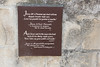 Placard in Courtyard of St. Anne's Church, Jerusalem (marylea) Tags: sign plaque religious israel site ancient catholic stonework jerusalem christian holy historical may13 oldcity placard 2015 stanneschurch birthplaceofmary siteofmarysbirth