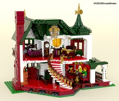 Victorian Dream Home on LEGO Ideas - Interior (buggyirk) Tags: building whimsical district creator house queen victorian modular buggyirk historic architecture historical home anne dream bassinet piano grand baby figure minifigure lego afol moc dark green red white orange fireplace bedroom living room dining dinette set wing chair tufted couch interior exterior garden turret tower gable finial stained glass window porch grandfather clock chandelier light brick built spiral staircase stairs pillar flower tree bush ideas crawl space family legodreamhome fantasy whimsy miniature colorsinourworld arch