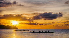 Sunset (Tommy K Le) Tags: ocean seascape water blue gold goldenhour sunset canoe people guam fujifilmxt1 flickrunitedaward