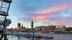 Big Ben, London eye and the river Thames. (Dave Pearce (London)) Tags: londoneye cocacola londonist big ben houses parliament river thames 1635l 1635mm dawn wheel timeout sky water clock westminster bridge eye