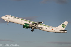 D-ASTW Airbus A321 Germania Glasgow airport EGPF 14.01-17 (rjonsen) Tags: plane airplane aricraft flying flight machine departure morning light winter