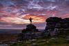 Dartmoor sunset (Myles Pinkney Photography) Tags: dartmoor dartmoornationalpark sunset rocks pewtor clouds textures pink red yellow orange sun moorland sillouette dog person nikond5300 nofilter kitlens