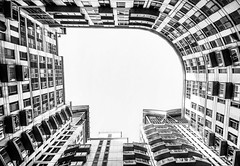 Looking up (アキラChacky) Tags: building bw blackandwhite lookup below canon canon600d camera canel contrast color city london uk british buildings development urban urbanphotograhy streetphotography street station lines structures window europe cityscape capital skyscrapper white black co