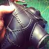 Working on a new aviator cap, goggles part of the design. #Cyberpunk #CyberGoth #postapocalyptic #postapocalypse #steampunk #steampunkmask #leathermask #handmade #LARP #dieselpunk #leather #Darkart #costume #larping #gasmask #aviator #aviatorcap #leatherc (tovlade) Tags: face mask cyberpunk cyber goth make up goggles girl punk postapocalyptic postapocalypse black steampunk leather hand made larp cybergoth dieselpunk plague doctor