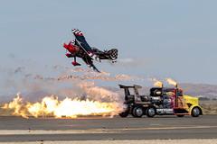 Pitts S2C vs Shockwave (Trent Bell) Tags: lancaster foxairfield airport losangelescounty airshow 2016 california skipstewart pitts s2c prometheus shockwave jettruck