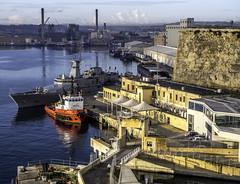 Valetta, Malta (Tony Tomlin) Tags: malta mediterranean georgecrossisland grandharbour valetta frigate warship tug