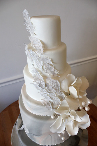 Close up of Sugar Feathers Wedding Cake