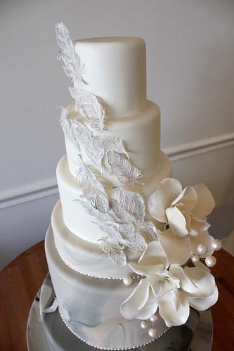Close up of Sugar Feathers Wedding Cake