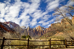 Towers of the Virgin, Zion N. P. (BDFri2012) Tags: towersofthevirgin zionnationalpark zion nationalpark utah clouds trees fence mountains snow southwestunitedstates americansouthwest landscape