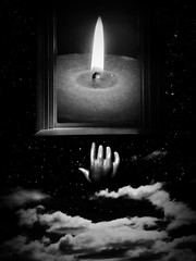 Aspiration (rsmithing) Tags: surreal surrealist surrealism photomontage collage hand window candle clouds reach aspiration blackandwhite blancoynegro noiretblanc hitamputih stars sky space fire flame hope motivational