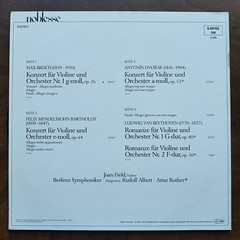 Backside Bruch - op.26, Mendelssohn - op.64, Dvorak - op.53 - Violin Concertos & Beethoven - Romanze op.40 & op.50 - Joan Field Violin, Berliner Symph., Rudolf Albert & Artur Rother, Noblesse Teldec 6.48165 DM, 2 Lp (Piano Piano!) Tags: art cover lp sleeve hoes 12inch plaat 2lp langspeelplaat berlinersymph bruchop26 mendelssohnop64 dvorakop53violinconcertosbeethovenromanzeop40op50joanfieldviolin rudolfalbertarturrother noblesseteldec648165dm coverarthoeshulle12inch discdisquerecordalbumlplangspeelplaatgramophoneschallplattevynilvinyl