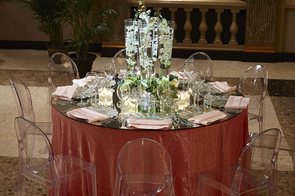 ... Round Table Setting-Glass Mirror Top 2 ... & Contemporary Settings | Martinu0027s Caterers