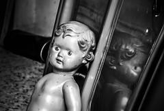 Childhood memories (vanina.viegi80) Tags: light blackandwhite childhood monocromo doll memories ricordi biancoenero riflesso giocattoli infanzia bambolotto